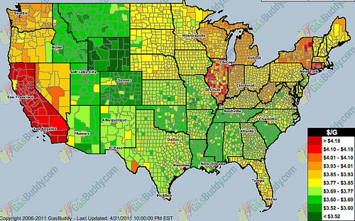 california gas prices 2011. Gas Price Heat Map - San